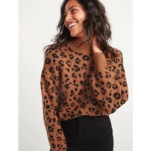 Old Navy Mockneck Brown Cheetah Sweater